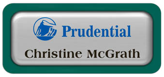 Metal Name Tag: Shiny Silver Metal Name Tag with a Pine Green Plastic Border and Epoxy