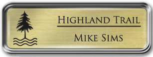 Framed Name Tag: Silver Metal (rounded corners) - Euro Gold and Black Plastic Insert with Epoxy