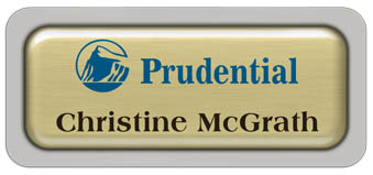 Metal Name Tag: Brushed Gold Metal Name Tag with a Pearl Grey Plastic Border and Epoxy