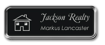 Silver Metal Framed Nametag with Black and Silver Plastic Tag