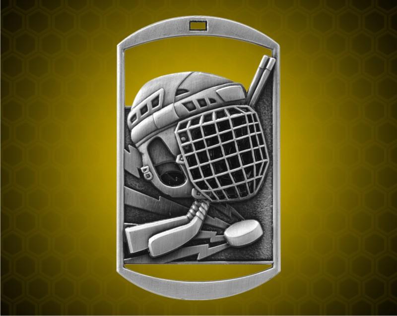 2 3/4 inch Silver Hockey DT Medal