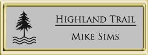 Framed Name Tag: Gold Plastic (squared corners) - Smooth Silver and Black Plastic Insert