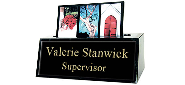 Black Marble Card Holder Small Desk Name Plate - Black Metal Name Plate with Gold Engraving