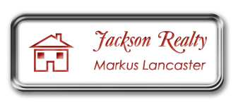 Silver Metal Framed Nametag with White and Crimson