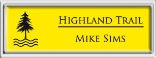 Framed Name Tag: Silver Plastic (squared corners) - Canary Yellow and Black Plastic Insert