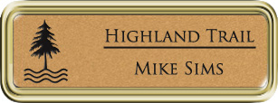 Framed Name Tag: Gold Plastic (rounded corners) - Smooth Gold and Black Plastic Insert