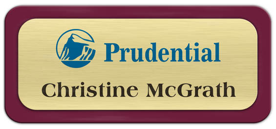 Metal Name Tag: Brushed Gold Metal Name Tag with a Burgundy Plastic Border