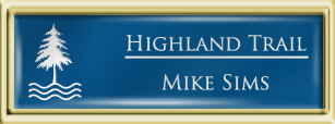 Framed Name Tag: Gold Plastic (squared corners) - Sky Blue and White Plastic Insert with Epoxy