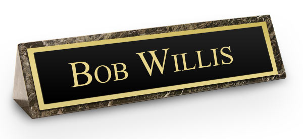 Green Marble Triangle Desk Name Plate Black And Gold