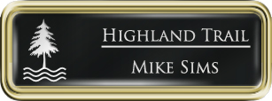 Framed Name Tag: Gold Plastic (rounded corners) - Black and White Plastic Insert with Epoxy