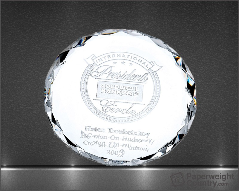3/4 x 3 1/2 x 3 1/2 Inch Round Optic Crystal Paperweight
