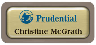 Metal Name Tag: Brushed Gold Metal Name Tag with a Taupe Plastic Border and Epoxy