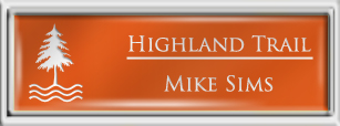 Framed Name Tag: Silver Plastic (squared corners) - Tangerine and White Plastic Insert with Epoxy