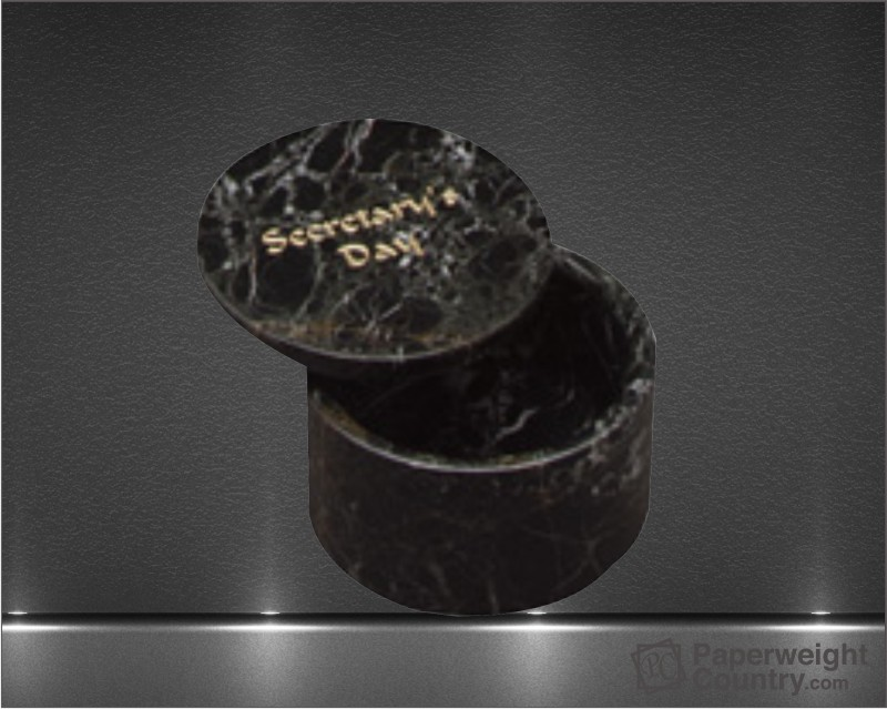 2 x 3 Inch Black Zebra Marble Round Box with Removable Lid