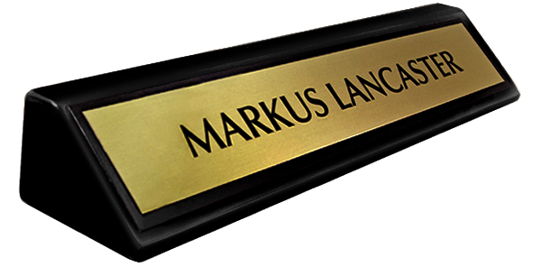 "Brushed Gold Metal Name Plate with a Black Border on an 8"" Black Piano Finish Deskplate"