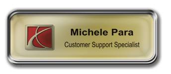 Silver Metal Framed Epoxy Nametag with Shiny Gold Metal Insert