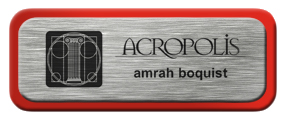 Metal Name Tag: Brushed Silver with Red Metal Border