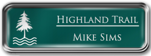 Framed Name Tag: Silver Metal (rounded corners) - Evergreen and White Plastic Insert with Epoxy