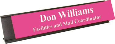 Ribbon Pink Plastic Plate with White Text, Black Deskplate