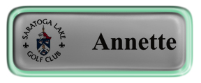 Metal Name Tag: Shiny Silver with Epoxy and Shiny Green Metal Border