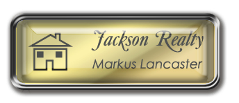 Framed Name Tag: Silver Metal (rounded corners) - Shiny Gold and Black Plastic Insert with Epoxy